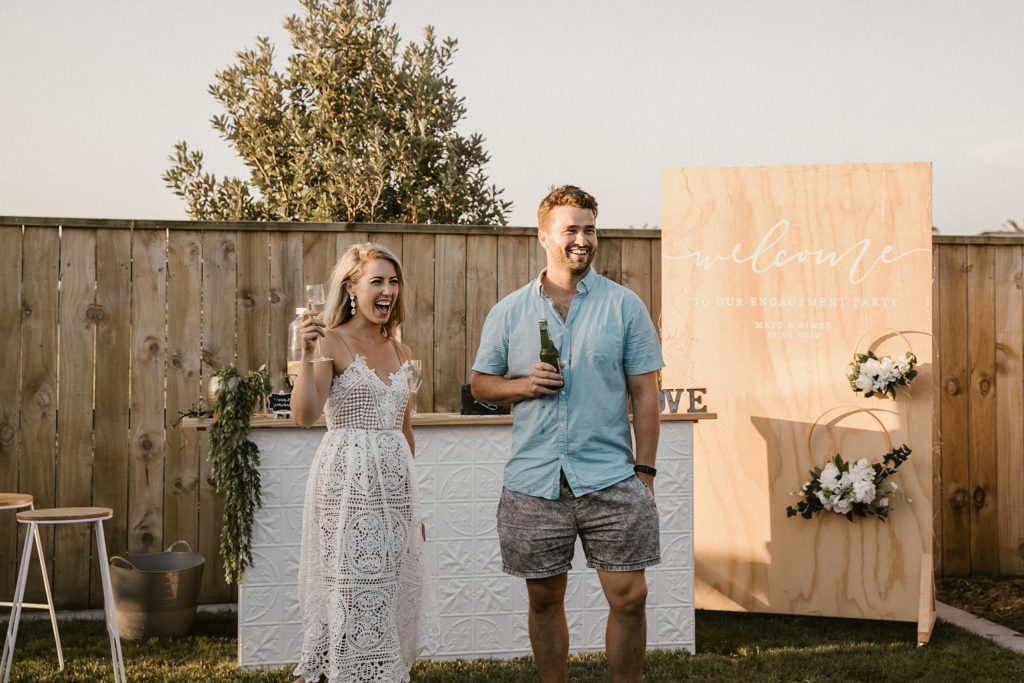 Matt and I at our Engagement Party on a beautiful summers evening.